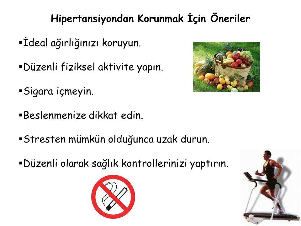 Hipertansiyondan Korunmak İçin Öneriler  İdeal ağırlığınızı koruyun.  Düzenli fiziksel aktivite yapın.  Sigara içmeyin.  Beslenmenize dikkat edin.