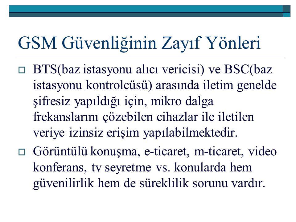 GSM Güvenliğinin Zayıf Yönleri  BTS(baz istasyonu alıcı vericisi) ve BSC(baz istasyonu kontrolcüsü) arasında iletim genelde şifresiz yapıldığı için,