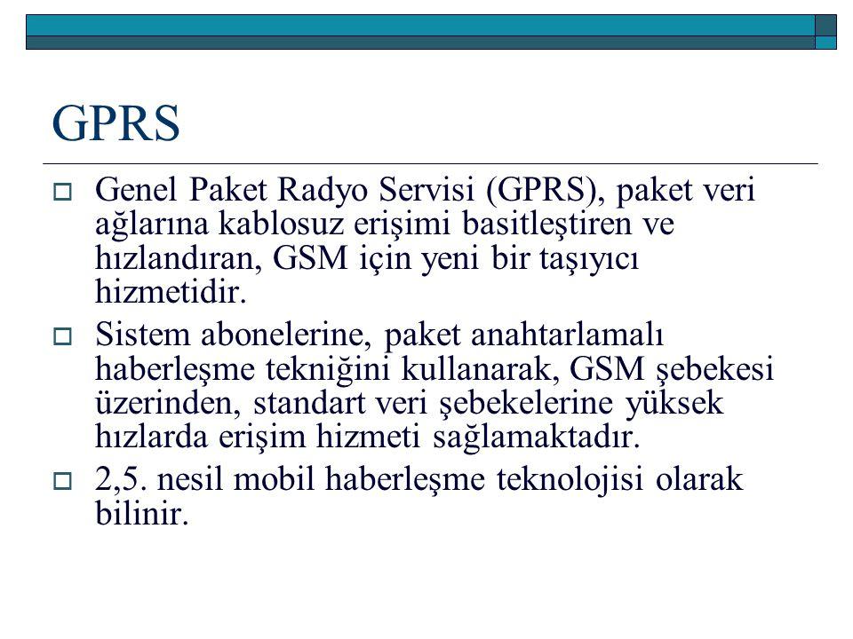 GPRS  Genel Paket Radyo Servisi (GPRS), paket veri ağlarına kablosuz erişimi basitleştiren ve hızlandıran, GSM için yeni bir taşıyıcı hizmetidir.  S
