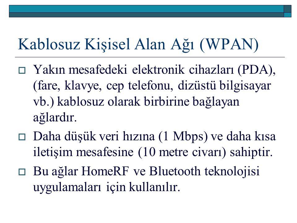 Kablosuz Kişisel Alan Ağı (WPAN)  Yakın mesafedeki elektronik cihazları (PDA), (fare, klavye, cep telefonu, dizüstü bilgisayar vb.) kablosuz olarak b