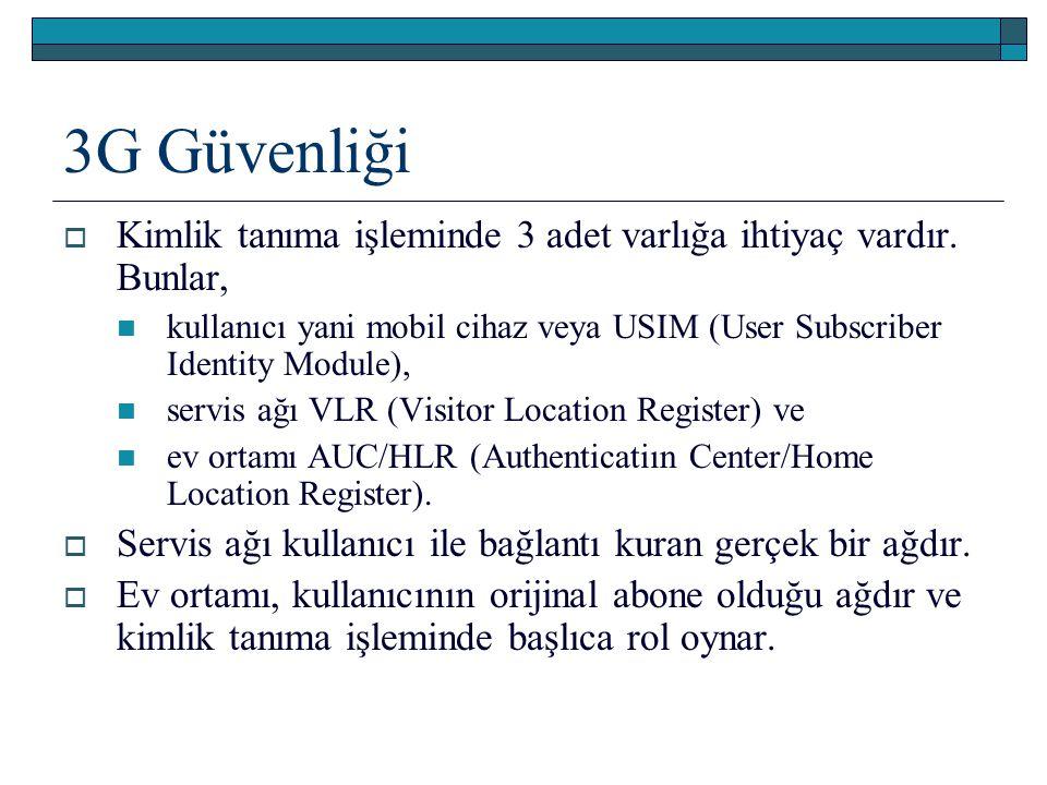 3G Güvenliği  Kimlik tanıma işleminde 3 adet varlığa ihtiyaç vardır. Bunlar, kullanıcı yani mobil cihaz veya USIM (User Subscriber Identity Module),