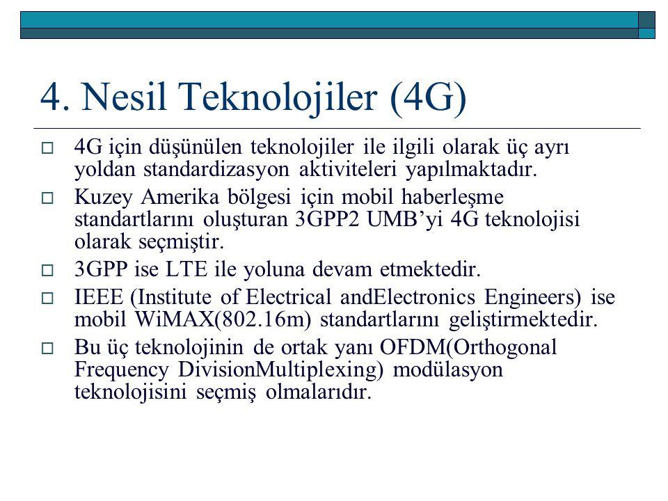 4. Nesil Teknolojiler (4G)  4G için düşünülen teknolojiler ile ilgili olarak üç ayrı yoldan standardizasyon aktiviteleri yapılmaktadır.  Kuzey Ameri