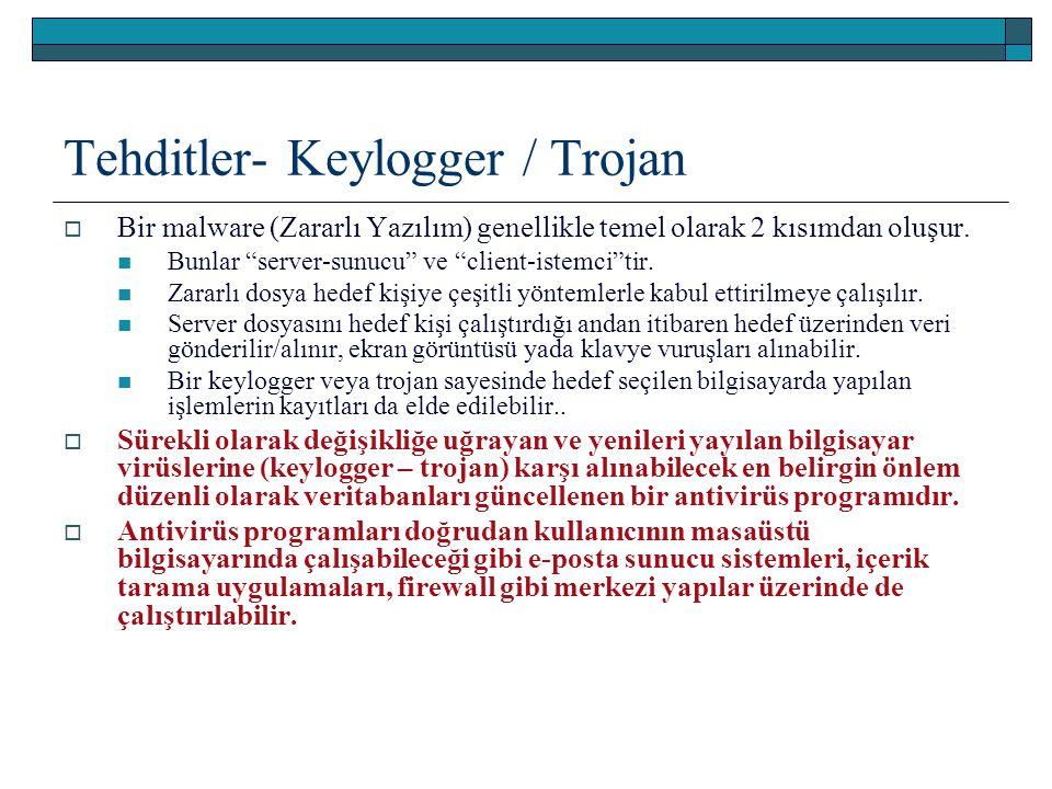 """Tehditler- Keylogger / Trojan  Bir malware (Zararlı Yazılım) genellikle temel olarak 2 kısımdan oluşur. Bunlar """"server-sunucu"""" ve """"client-istemci""""tir"""