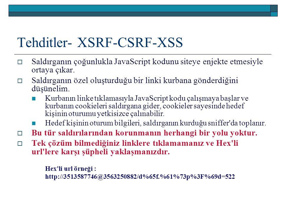 Tehditler- XSRF-CSRF-XSS  Saldırganın çoğunlukla JavaScript kodunu siteye enjekte etmesiyle ortaya çıkar.  Saldırganın özel oluşturduğu bir linki ku