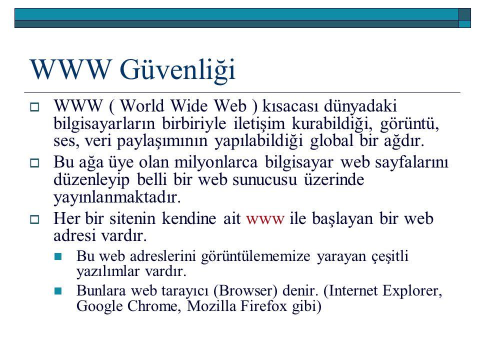 WWW Güvenliği  WWW ( World Wide Web ) kısacası dünyadaki bilgisayarların birbiriyle iletişim kurabildiği, görüntü, ses, veri paylaşımının yapılabildi