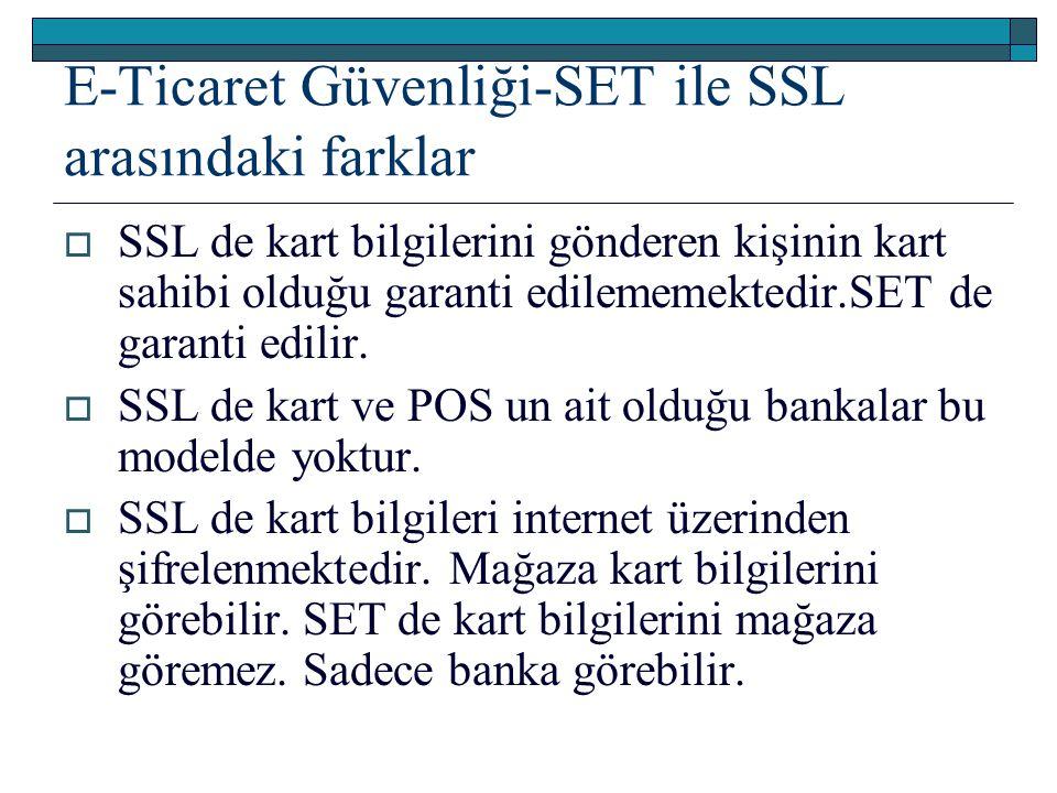 E-Ticaret Güvenliği-SET ile SSL arasındaki farklar  SSL de kart bilgilerini gönderen kişinin kart sahibi olduğu garanti edilememektedir.SET de garant