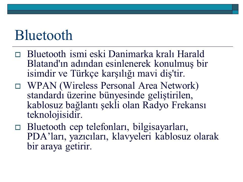 Bluetooth  Bluetooth ismi eski Danimarka kralı Harald Blatand'ın adından esinlenerek konulmuş bir isimdir ve Türkçe karşılığı mavi diş'tir.  WPAN (W