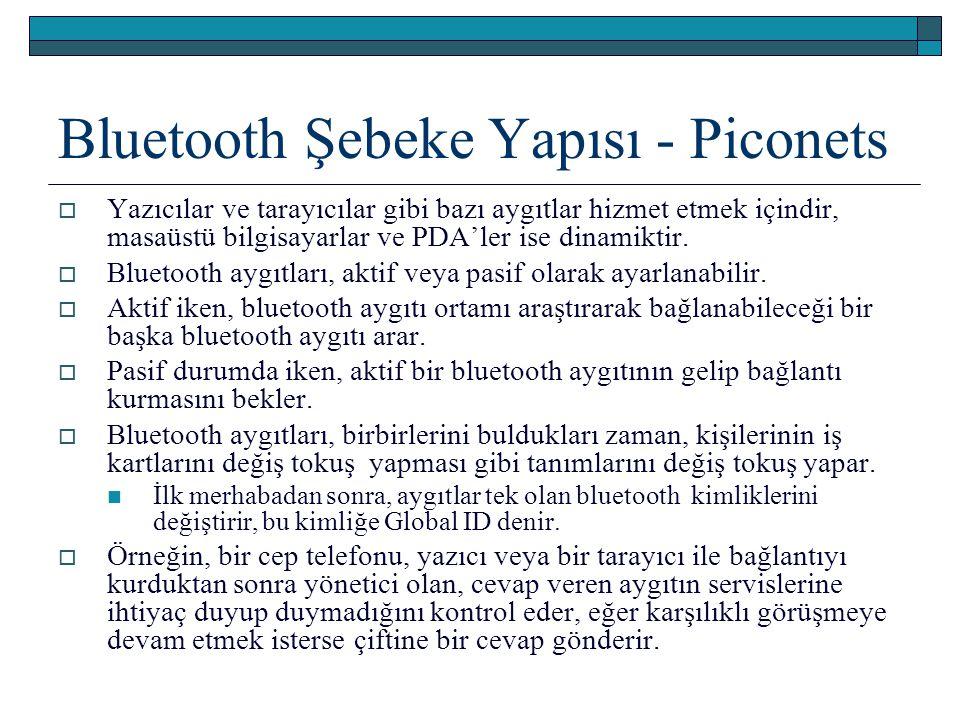 Bluetooth Şebeke Yapısı - Piconets  Yazıcılar ve tarayıcılar gibi bazı aygıtlar hizmet etmek içindir, masaüstü bilgisayarlar ve PDA'ler ise dinamikti