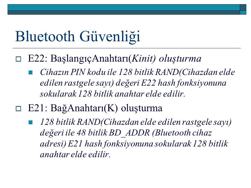 Bluetooth Güvenliği  E22: BaşlangıçAnahtarı(Kinit) oluşturma Cihazın PIN kodu ile 128 bitlik RAND(Cihazdan elde edilen rastgele sayı) değeri E22 hash