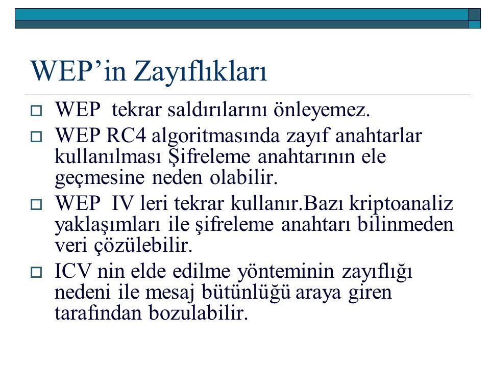 WEP'in Zayıflıkları  WEP tekrar saldırılarını önleyemez.  WEP RC4 algoritmasında zayıf anahtarlar kullanılması Şifreleme anahtarının ele geçmesine n