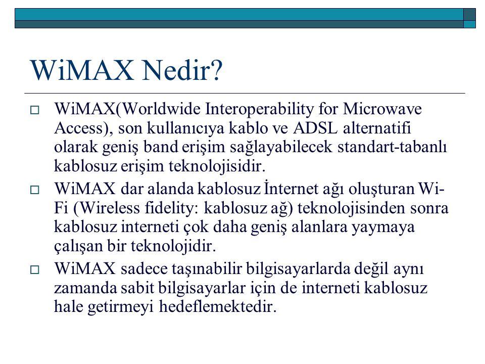WiMAX Nedir?  WiMAX(Worldwide Interoperability for Microwave Access), son kullanıcıya kablo ve ADSL alternatifi olarak geniş band erişim sağlayabilec