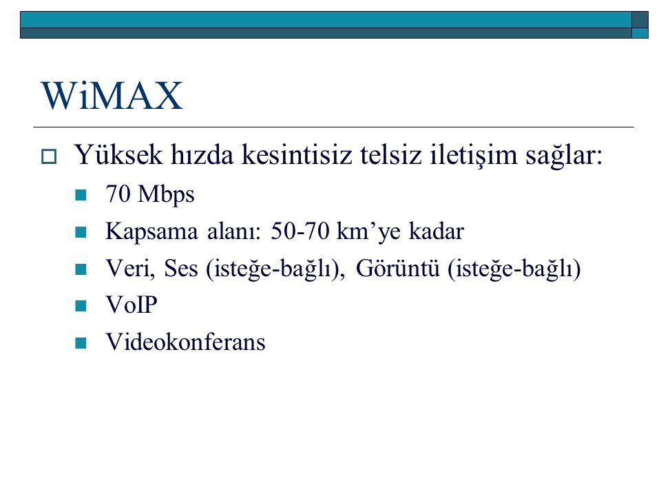 WiMAX  Yüksek hızda kesintisiz telsiz iletişim sağlar: 70 Mbps Kapsama alanı: 50-70 km'ye kadar Veri, Ses (isteğe-bağlı), Görüntü (isteğe-bağlı) VoIP