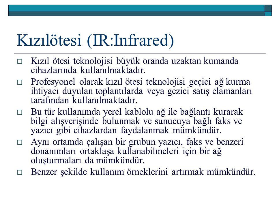 Kızılötesi (IR:Infrared)  Kızıl ötesi teknolojisi büyük oranda uzaktan kumanda cihazlarında kullanılmaktadır.  Profesyonel olarak kızıl ötesi teknol