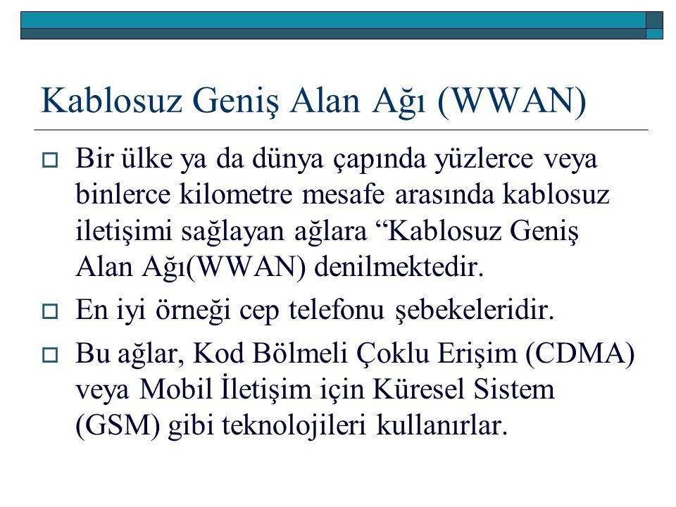 """Kablosuz Geniş Alan Ağı (WWAN)  Bir ülke ya da dünya çapında yüzlerce veya binlerce kilometre mesafe arasında kablosuz iletişimi sağlayan ağlara """"Kab"""