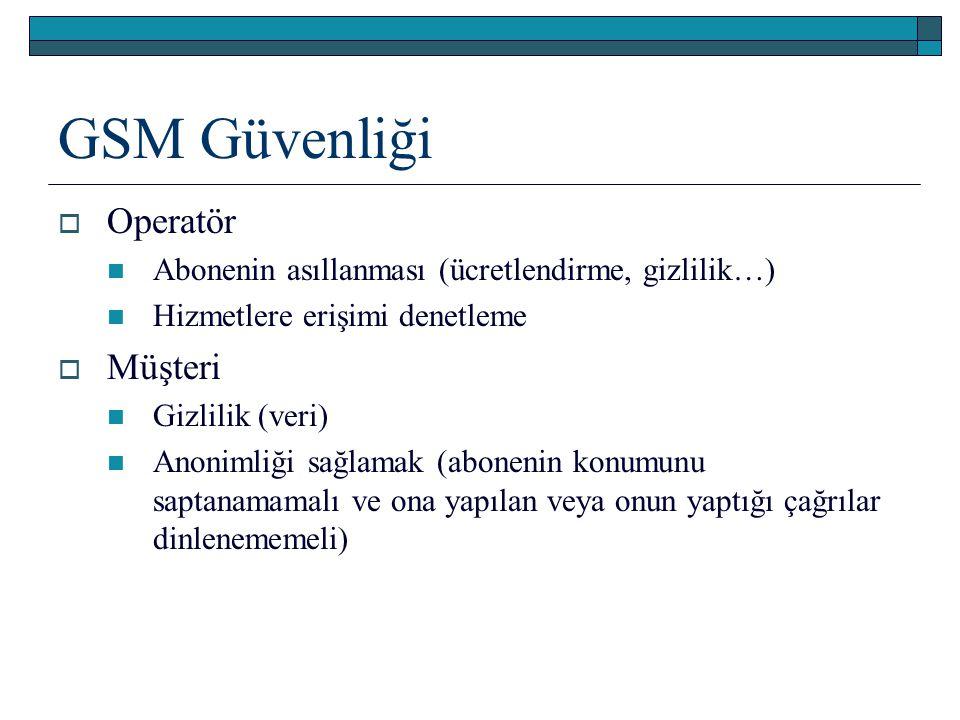 GSM Güvenliği  Operatör Abonenin asıllanması (ücretlendirme, gizlilik…) Hizmetlere erişimi denetleme  Müşteri Gizlilik (veri) Anonimliği sağlamak (a