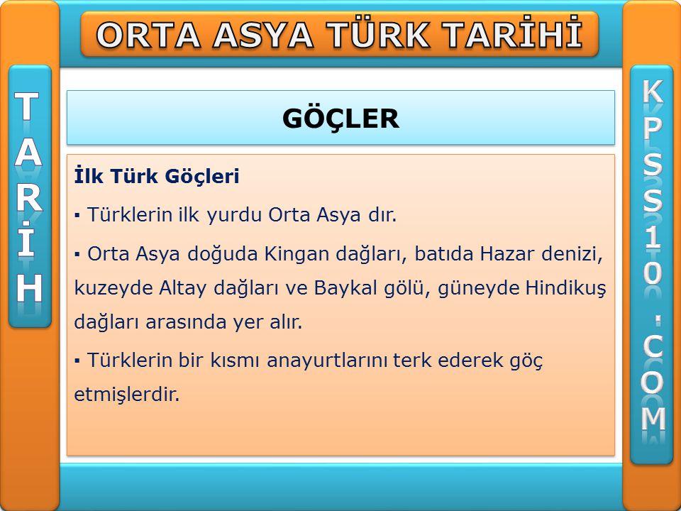 GÖÇLER İlk Türk Göçleri ▪ Türklerin ilk yurdu Orta Asya dır.
