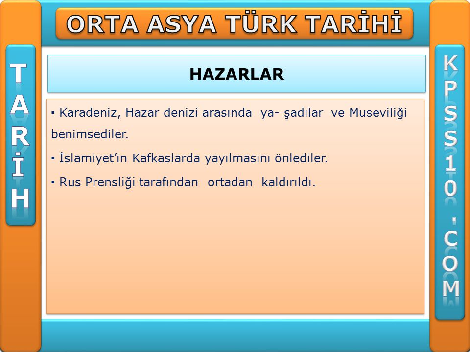 HAZARLAR ▪ Karadeniz, Hazar denizi arasında ya- şadılar ve Museviliği benimsediler.