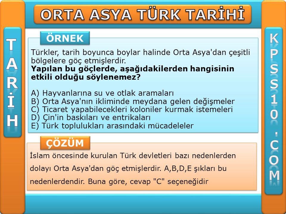 İslam öncesinde kurulan Türk devletleri bazı nedenlerden dolayı Orta Asya dan göç etmişlerdir.