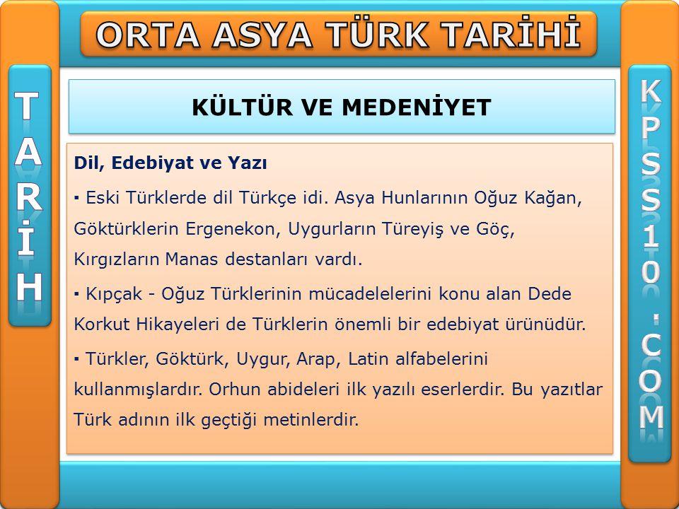 KÜLTÜR VE MEDENİYET Dil, Edebiyat ve Yazı ▪ Eski Türklerde dil Türkçe idi.