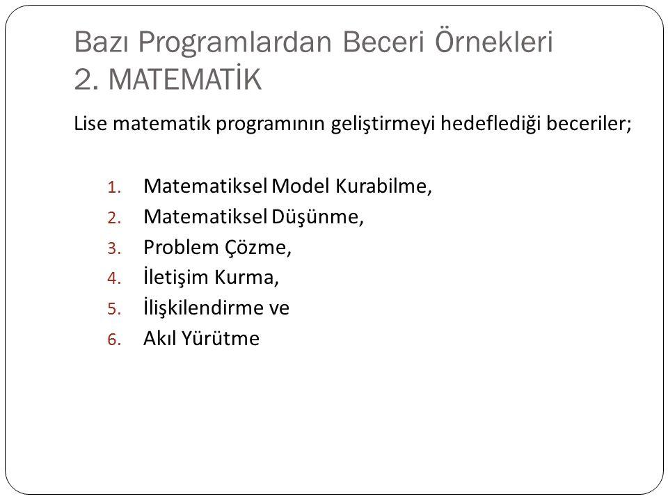 Bazı Programlardan Beceri Örnekleri 2. MATEMATİK Lise matematik programının geliştirmeyi hedeflediği beceriler; 1. Matematiksel Model Kurabilme, 2. Ma