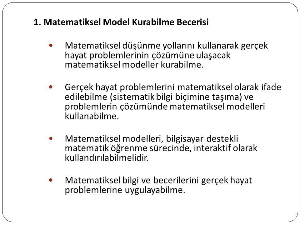 1. Matematiksel Model Kurabilme Becerisi Matematiksel düşünme yollarını kullanarak gerçek hayat problemlerinin çözümüne ulaşacak matematiksel modeller