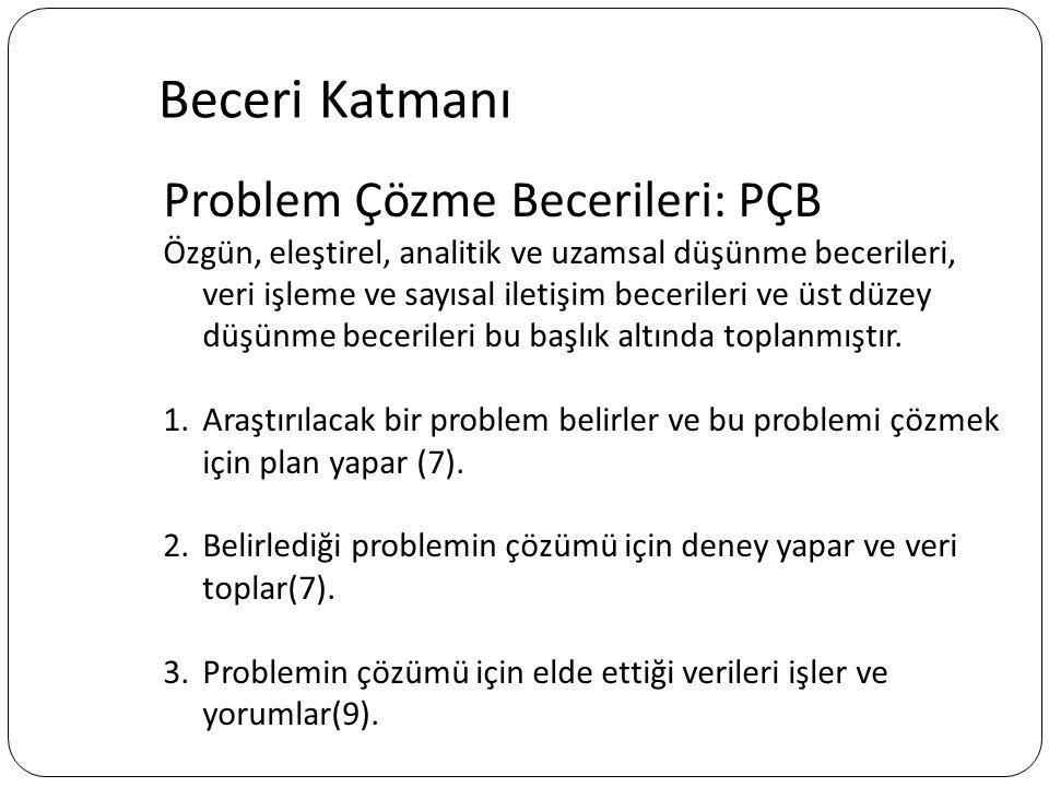 Problem Çözme Becerileri: PÇB Özgün, eleştirel, analitik ve uzamsal düşünme becerileri, veri işleme ve sayısal iletişim becerileri ve üst düzey düşünm