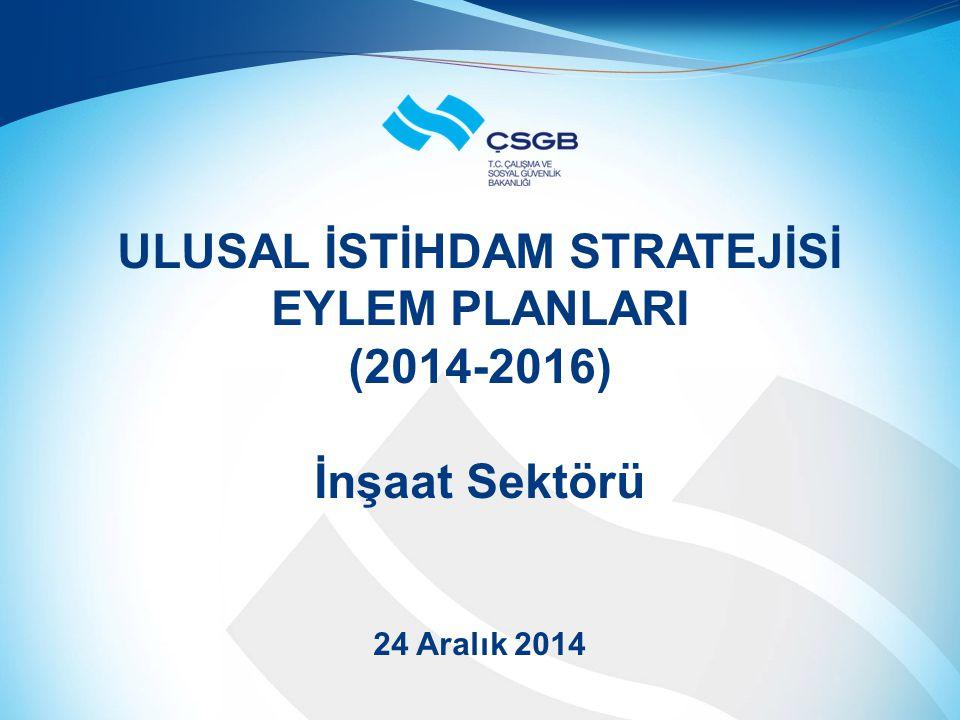 ULUSAL İSTİHDAM STRATEJİSİ EYLEM PLANLARI (2014-2016) İnşaat Sektörü 24 Aralık 2014