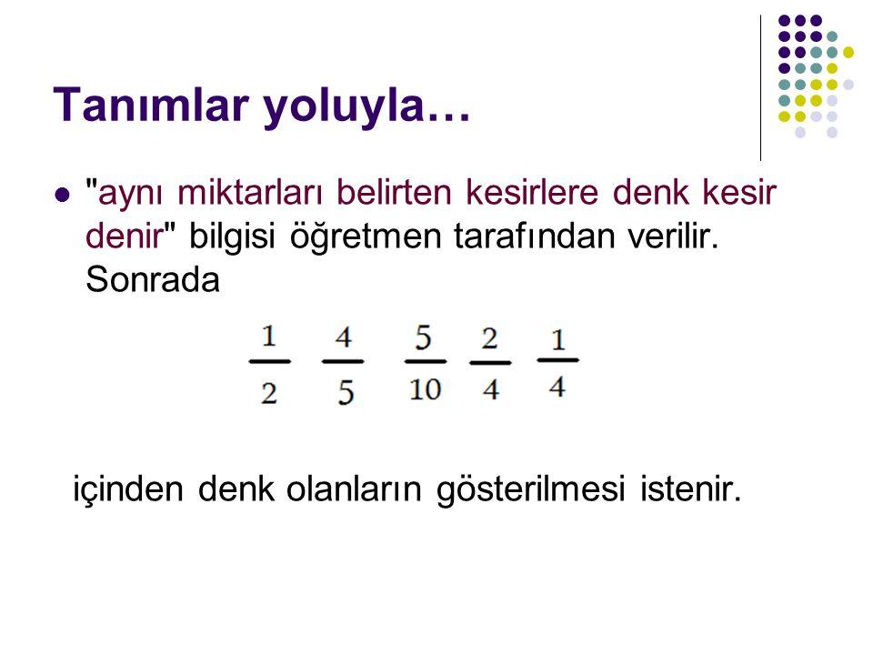 Tanımlar yoluyla… aynı miktarları belirten kesirlere denk kesir denir bilgisi öğretmen tarafından verilir.