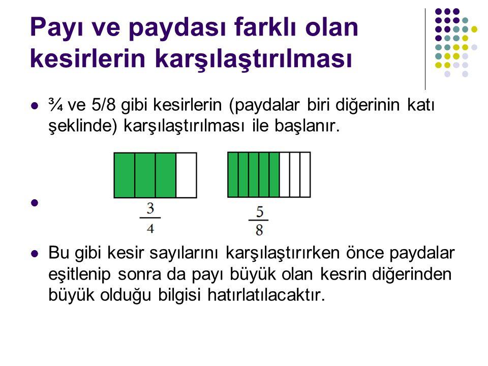Payı ve paydası farklı olan kesirlerin karşılaştırılması ¾ ve 5/8 gibi kesirlerin (paydalar biri diğerinin katı şeklinde) karşılaştırılması ile başlanır.