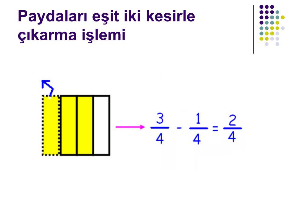 Paydaları eşit iki kesirle çıkarma işlemi