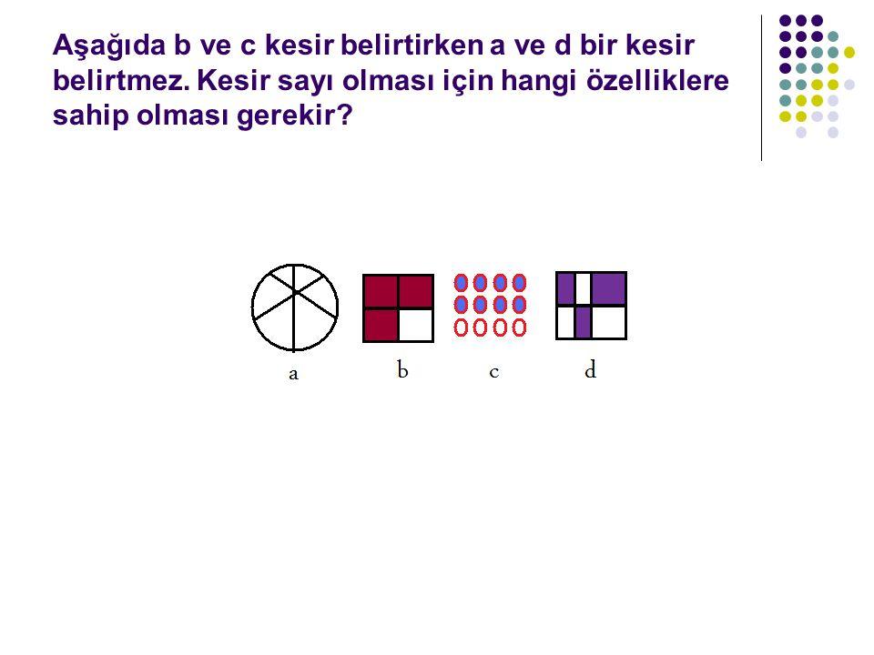 Aşağıda b ve c kesir belirtirken a ve d bir kesir belirtmez.