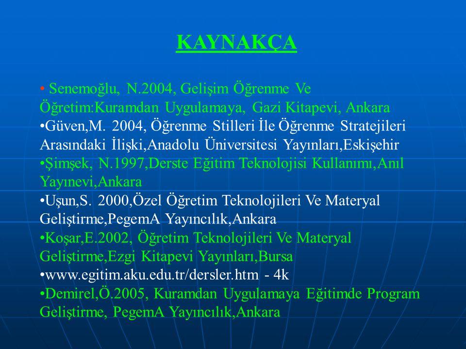 KAYNAKÇA Senemoğlu, N.2004, Gelişim Öğrenme Ve Öğretim:Kuramdan Uygulamaya, Gazi Kitapevi, Ankara Güven,M. 2004, Öğrenme Stilleri İle Öğrenme Strateji
