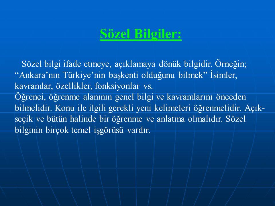 """Sözel Bilgiler: Sözel bilgi ifade etmeye, açıklamaya dönük bilgidir. Örneğin; """"Ankara'nın Türkiye'nin başkenti olduğunu bilmek"""" İsimler, kavramlar, öz"""