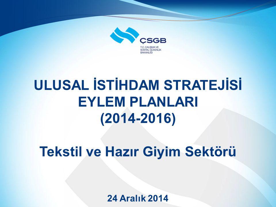 ULUSAL İSTİHDAM STRATEJİSİ EYLEM PLANLARI (2014-2016) Tekstil ve Hazır Giyim Sektörü 24 Aralık 2014