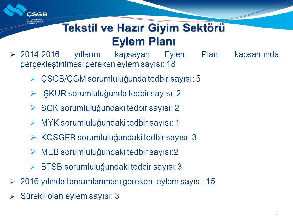  2014-2016 yıllarını kapsayan Eylem Planı kapsamında gerçekleştirilmesi gereken eylem sayısı: 18  ÇSGB/ÇGM sorumluluğunda tedbir sayısı: 5  İŞKUR s
