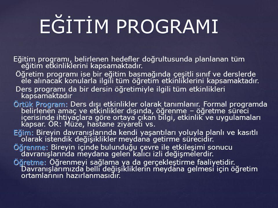 Eğitim programı, belirlenen hedefler doğrultusunda planlanan tüm eğitim etkinliklerini kapsamaktadır. Öğretim programı ise bir eğitim basmağında çeşit