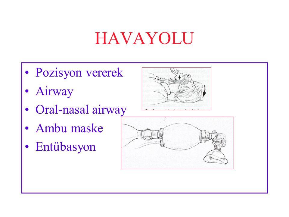HAVAYOLU Pozisyon vererek Airway Oral-nasal airway Ambu maske Entübasyon