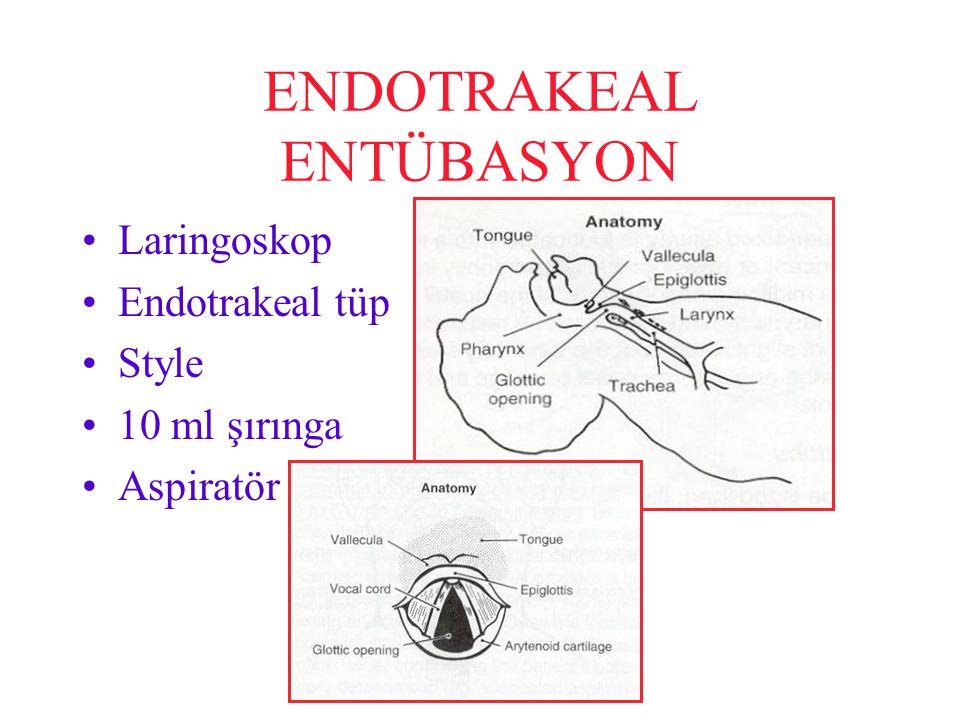 ENDOTRAKEAL ENTÜBASYON Laringoskop Endotrakeal tüp Style 10 ml şırınga Aspiratör