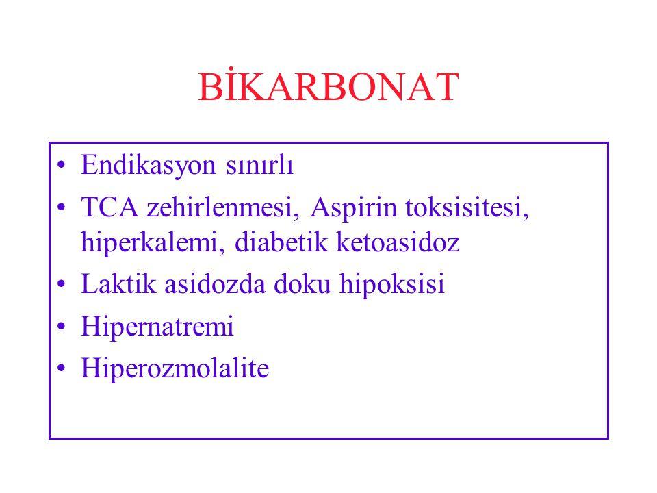 BİKARBONAT Endikasyon sınırlı TCA zehirlenmesi, Aspirin toksisitesi, hiperkalemi, diabetik ketoasidoz Laktik asidozda doku hipoksisi Hipernatremi Hiperozmolalite
