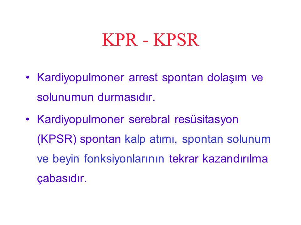 KPR - KPSR Kardiyopulmoner arrest spontan dolaşım ve solunumun durmasıdır. Kardiyopulmoner serebral resüsitasyon (KPSR) spontan kalp atımı, spontan so