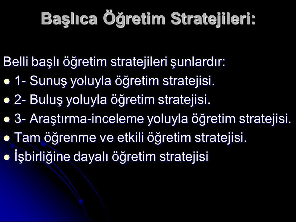 Başlıca Öğretim Stratejileri: Belli başlı öğretim stratejileri şunlardır: 1- Sunuş yoluyla öğretim stratejisi. 1- Sunuş yoluyla öğretim stratejisi. 2-