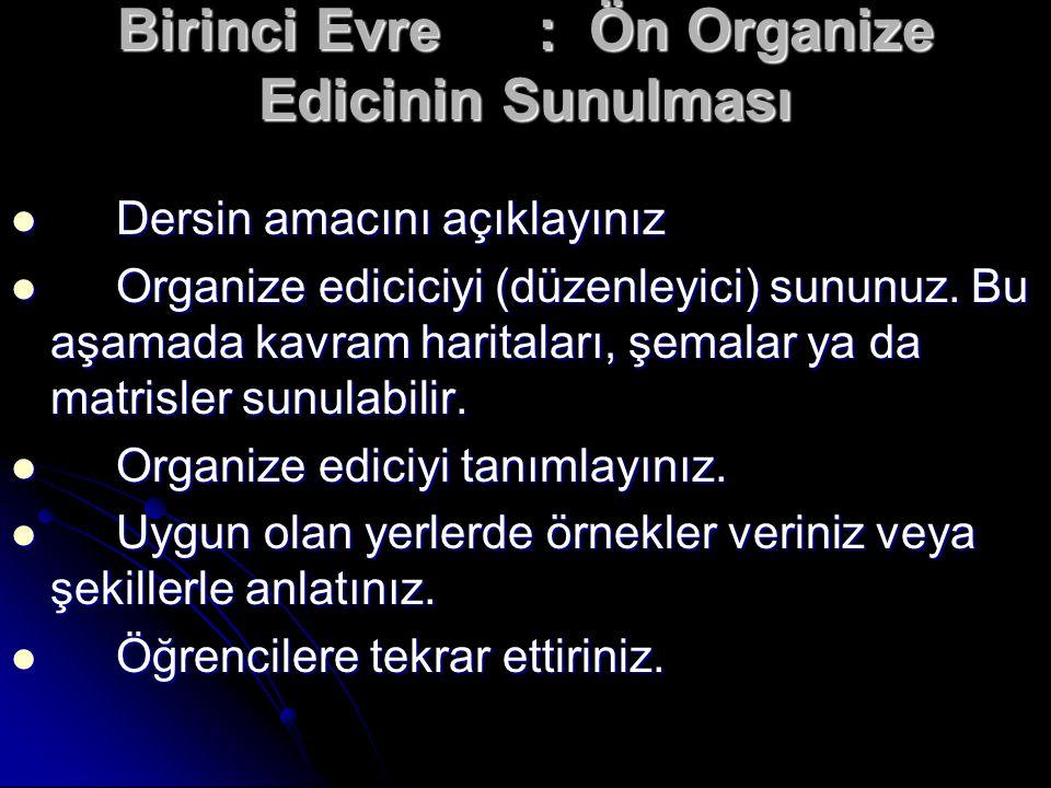 Birinci Evre: Ön Organize Edicinin Sunulması Dersin amacını açıklayınız Dersin amacını açıklayınız Organize ediciciyi (düzenleyici) sununuz. Bu aşamad
