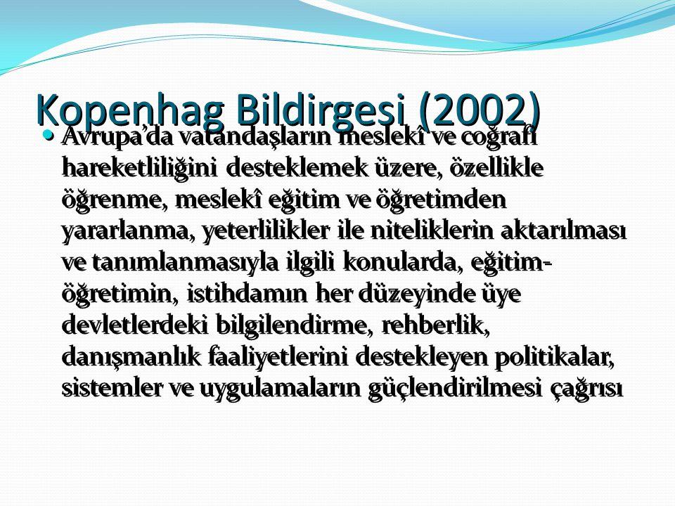 Kopenhag Bildirgesi (2002) Avrupa'da vatandaşların meslekî ve coğrafi hareketliliğini desteklemek üzere, özellikle öğrenme, meslekî eğitim ve öğretimd