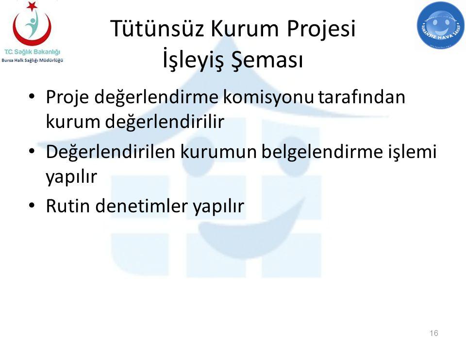 Tütünsüz Kurum Projesi İşleyiş Şeması Proje değerlendirme komisyonu tarafından kurum değerlendirilir Değerlendirilen kurumun belgelendirme işlemi yapılır Rutin denetimler yapılır 16