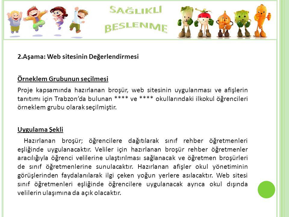 2.Aşama: Web sitesinin Değerlendirmesi Örneklem Grubunun seçilmesi Proje kapsamında hazırlanan broşür, web sitesinin uygulanması ve afişlerin tanıtımı