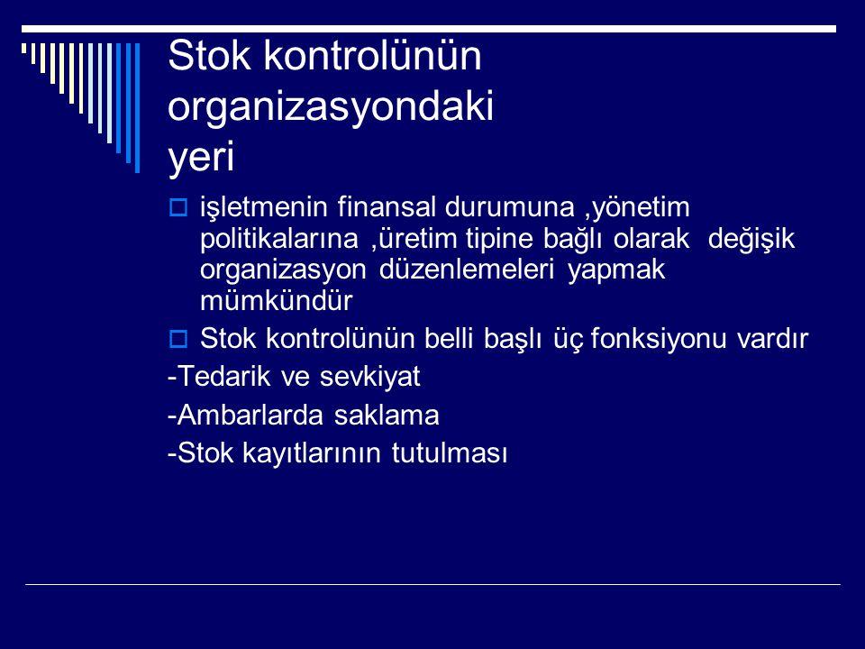 Stok kontrolünün organizasyondaki yeri  işletmenin finansal durumuna,yönetim politikalarına,üretim tipine bağlı olarak değişik organizasyon düzenlemeleri yapmak mümkündür  Stok kontrolünün belli başlı üç fonksiyonu vardır -Tedarik ve sevkiyat -Ambarlarda saklama -Stok kayıtlarının tutulması
