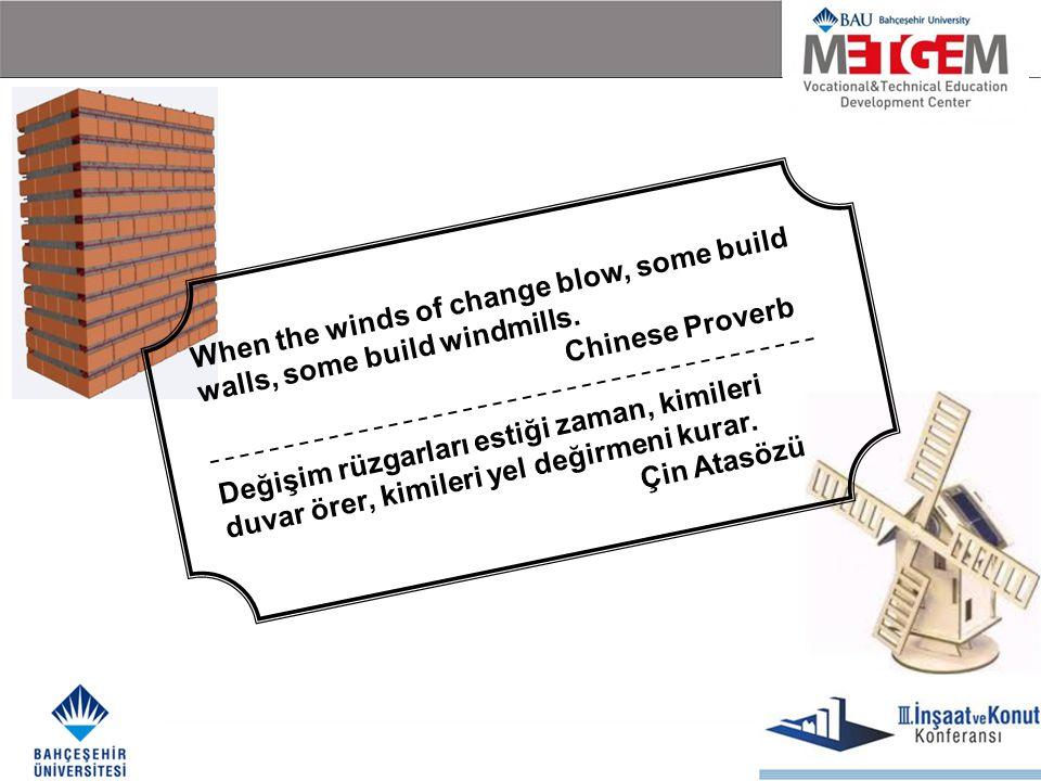 When the winds of change blow, some build walls, some build windmills. Chinese Proverb Değişim rüzgarları estiği zaman, kimileri duvar örer, kimileri