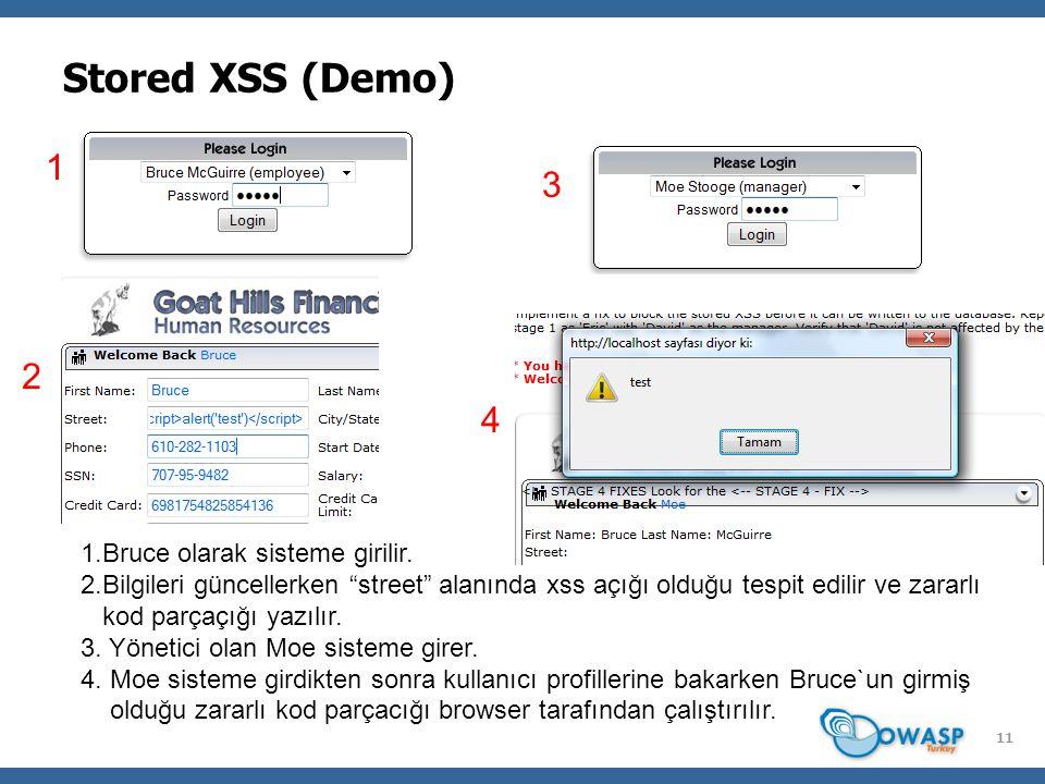 11 Stored XSS (Demo) 1 2 3 4 1.Bruce olarak sisteme girilir.
