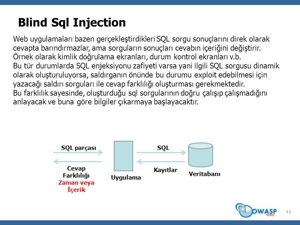 13 Blind Sql Injection Web uygulamaları bazen gerçekleştirdikleri SQL sorgu sonuçlarını direk olarak cevapta barındırmazlar, ama sorguların sonuçları cevabın içeriğini değiştirir.