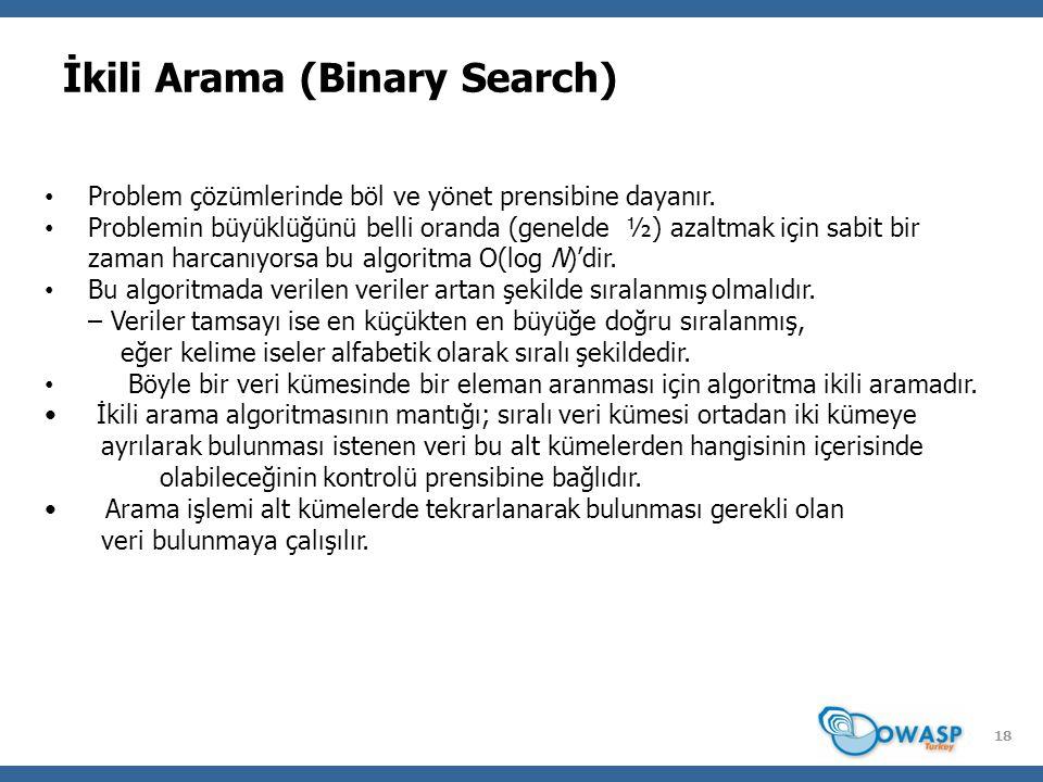 18 İkili Arama (Binary Search) Problem çözümlerinde böl ve yönet prensibine dayanır.